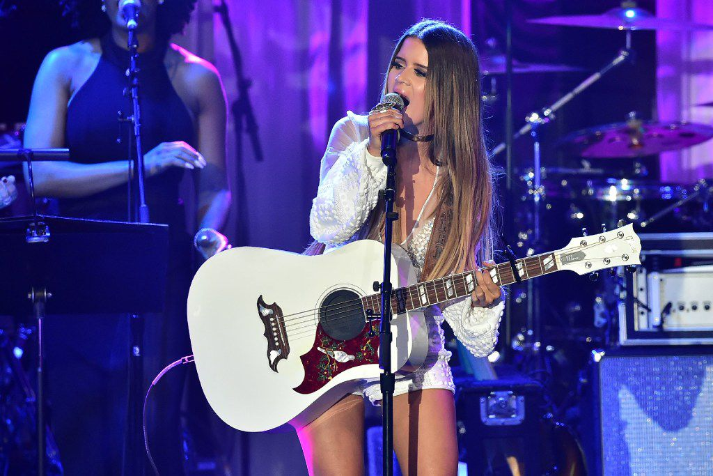 Singer Maren Morris performs during the annual Clive Davis pre-Grammy gala at the Beverly Hilton Hotel on February 11, 2017. The annual Clive Davis pre-Grammy gala, presented in association with the Recording Academy, is among the most coveted invitations on the eve of The Grammy's gala.  / AFP PHOTO / Frederic J. BROWNFREDERIC J. BROWN/AFP/Getty Images