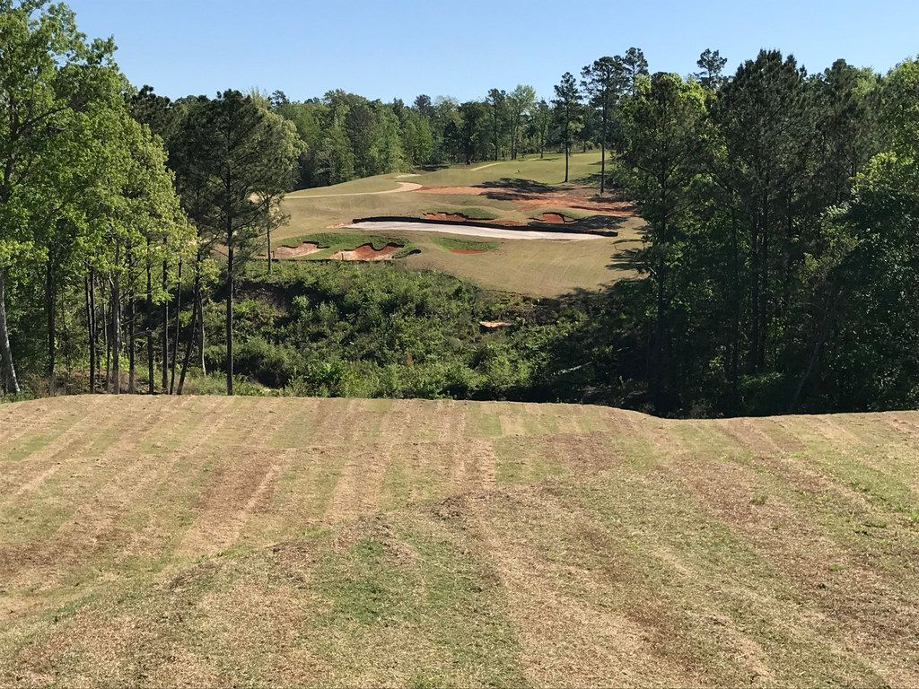 The dramatic par-3 12th hole at Tempest Golf Club in Gladewater requires a shot over a ravine. The course, designed by Jeffrey D. Brauer of Arlington, is scheduled to open in August 2018. This is for Texas Golf 2018.