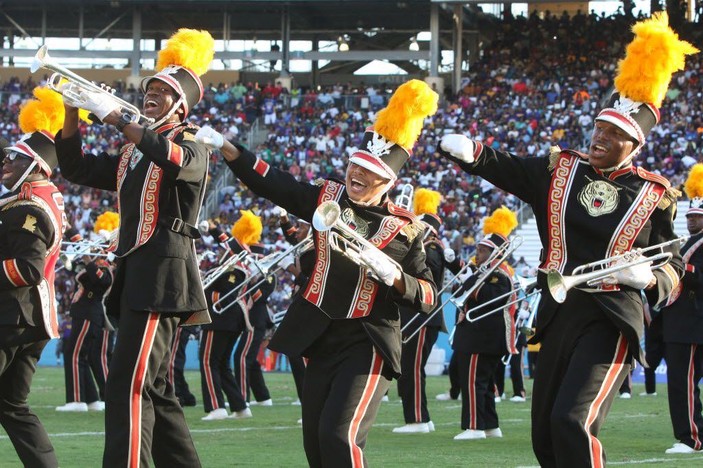 Members of the Grambling band perform during their high-energy halftime show at the annual State Fair Classic in 2015 at the Cotton Bowl.