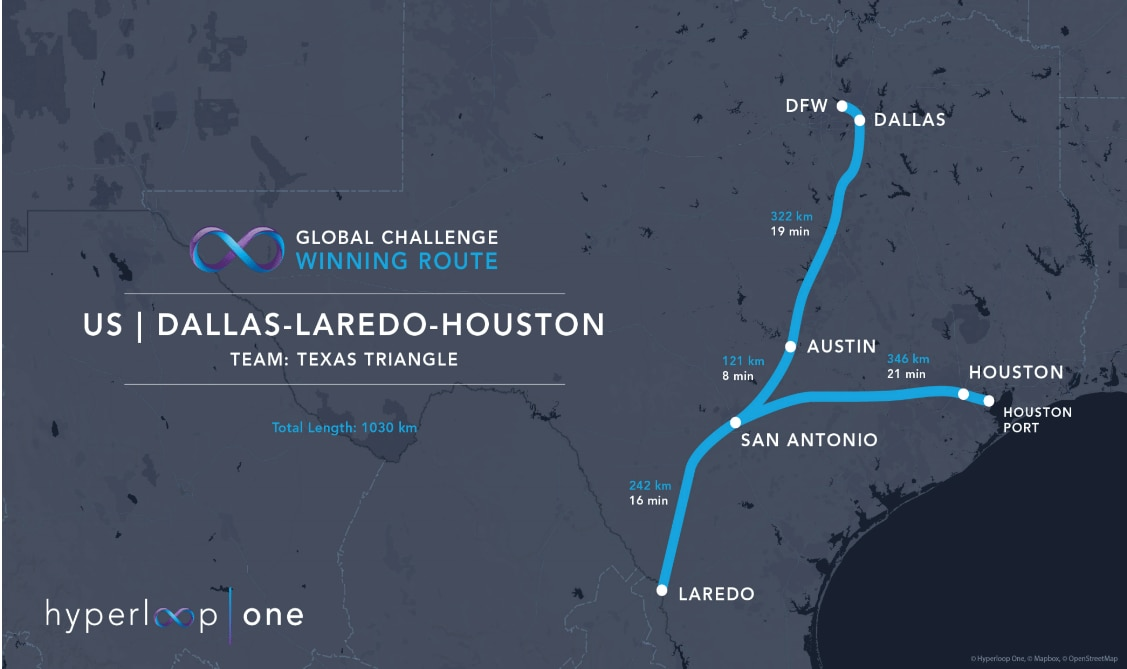 The proposed hyperloop route for Texas would connect the state's major cities and its ports. It would make it possible for passengers to travel from Dallas to Austin in 19 minutes. (Courtesy of Hyperloop One).