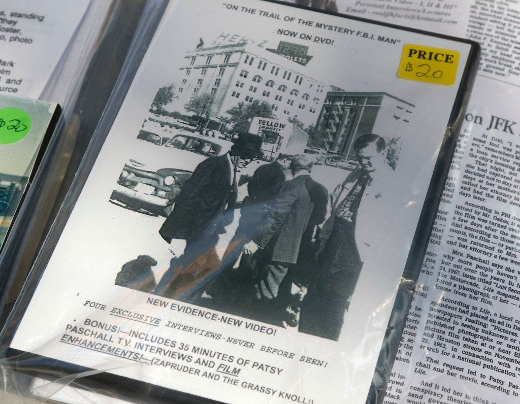 One of several videos currently being sold by Mark A. Oakes, a J.F.K. assassination researcher, at his display at Dealey Plaza Tuesday, November, 14, 2017. Oakes has been at Dealey Plaza selling various videos on the President Kennedy assassination since 1995. (Ron Baselice/The Dallas Morning News)