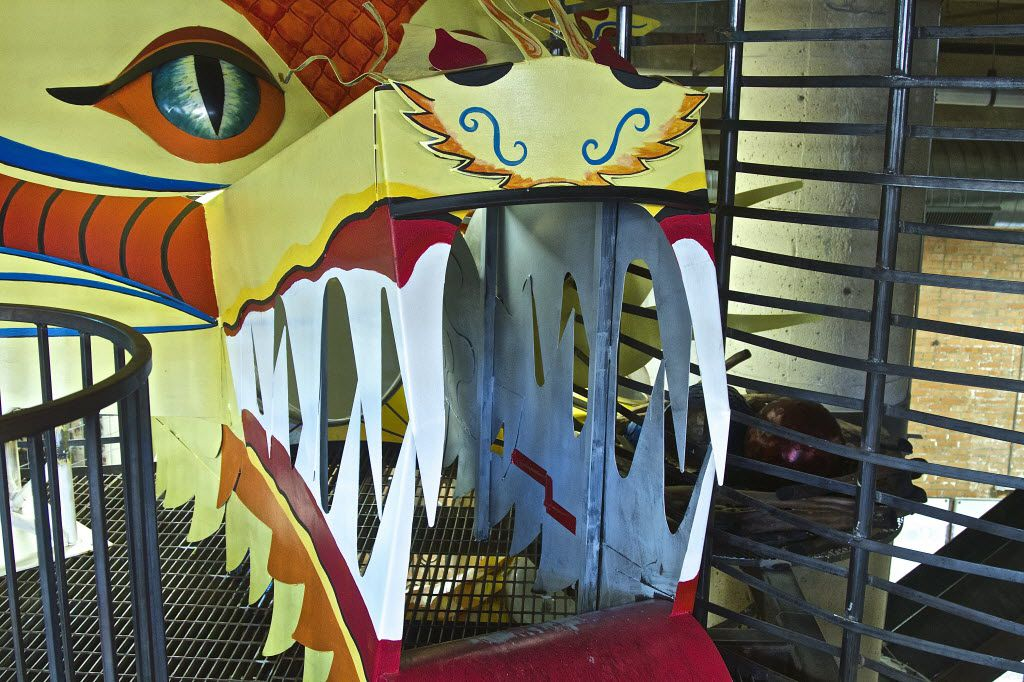 Anyone who wants to reach the top of the Giant Slide at SPARK! must pass through the mouth of the Chinese she-dragon. The dragon and the slide are part of the Climb, Crawl and Slide Structure envisioned by Beverly Davis, president and CEO of SPARK! It was created using repurposed and donated materials, and its structural plans exceed the City of Dallas' requirements for safety.