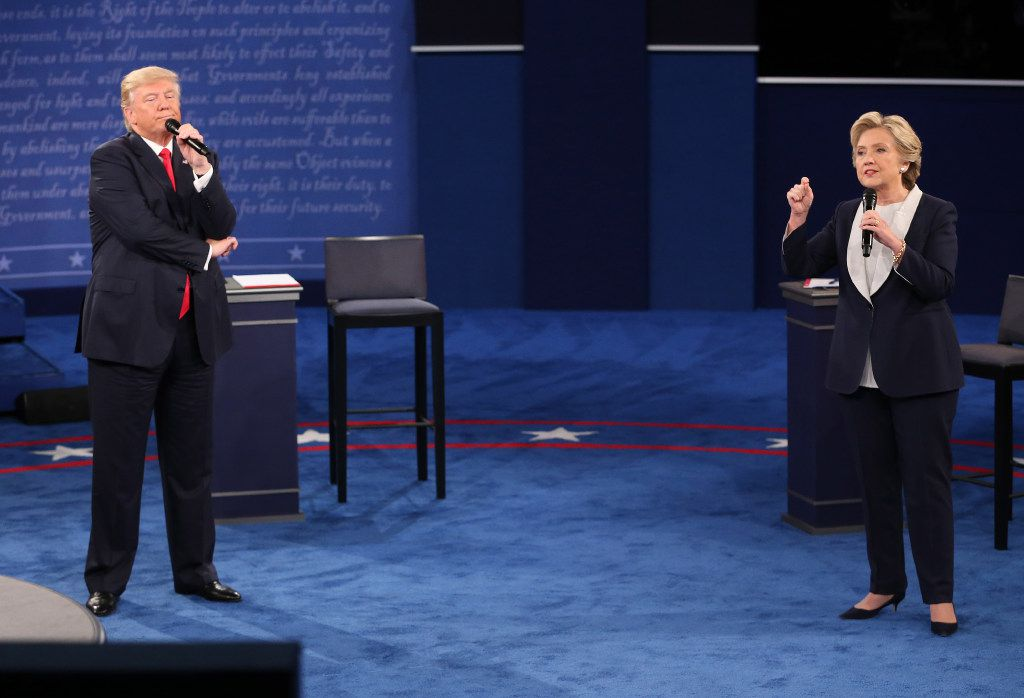Hillary Clinton and Donald Trump, at the second debate at Washington University in St. Louis.