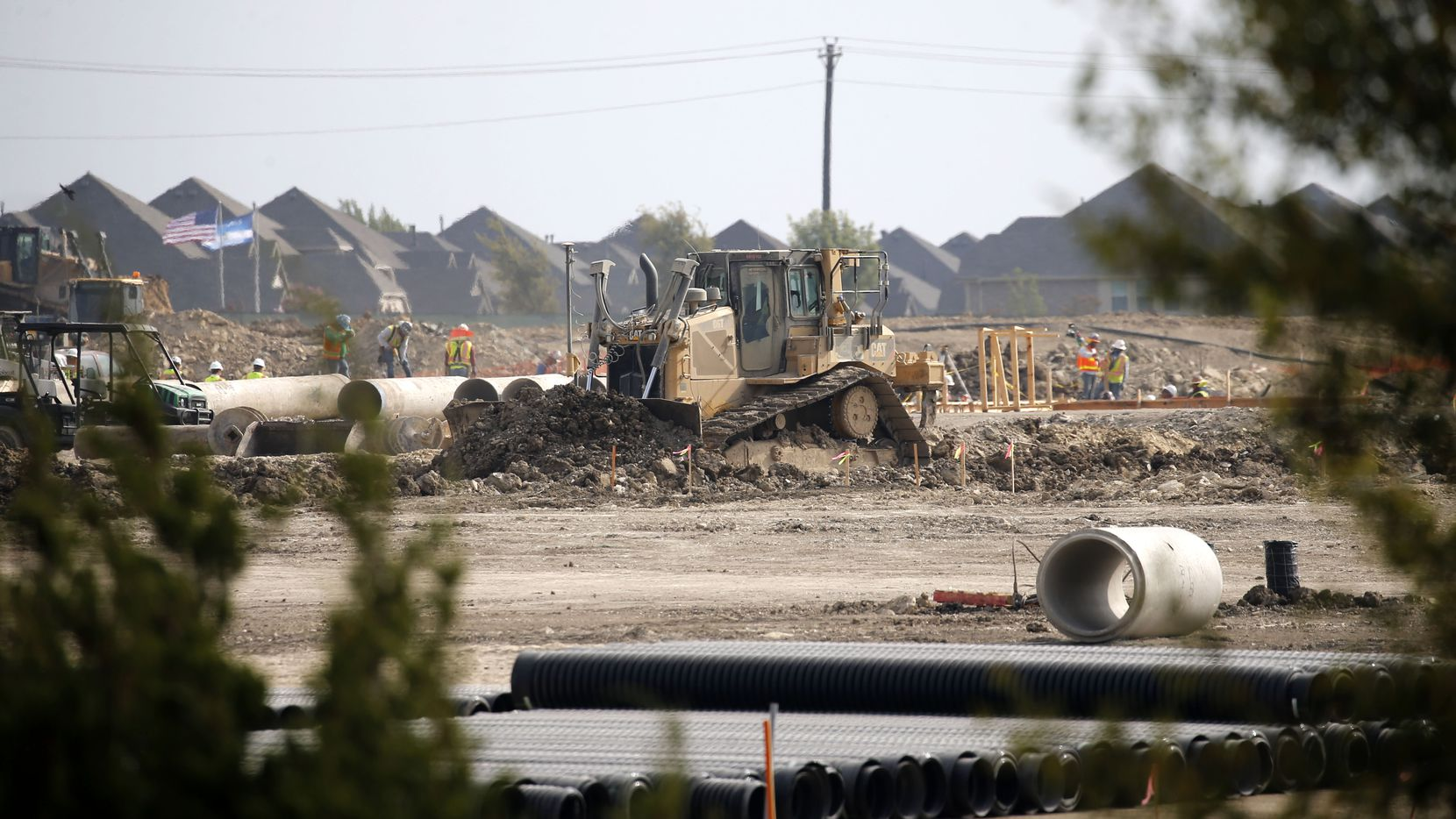 Construction began in September for Emerson High School, which will be the Frisco school district's 11th high school. The campus is near the intersection of Collin McKinney Parkway and Stacy Road in McKinney. (Vernon Bryant/The Dallas Morning News)