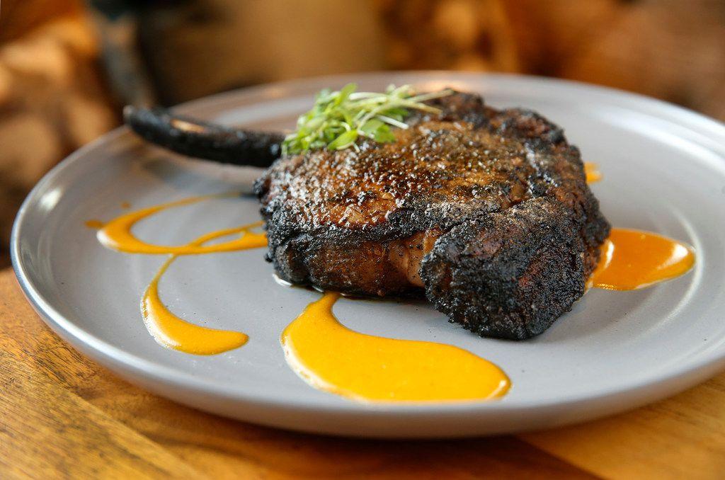 The $45 Campfire Ribeye, a coal charred dry-aged steak, at Jasper's Uptown.