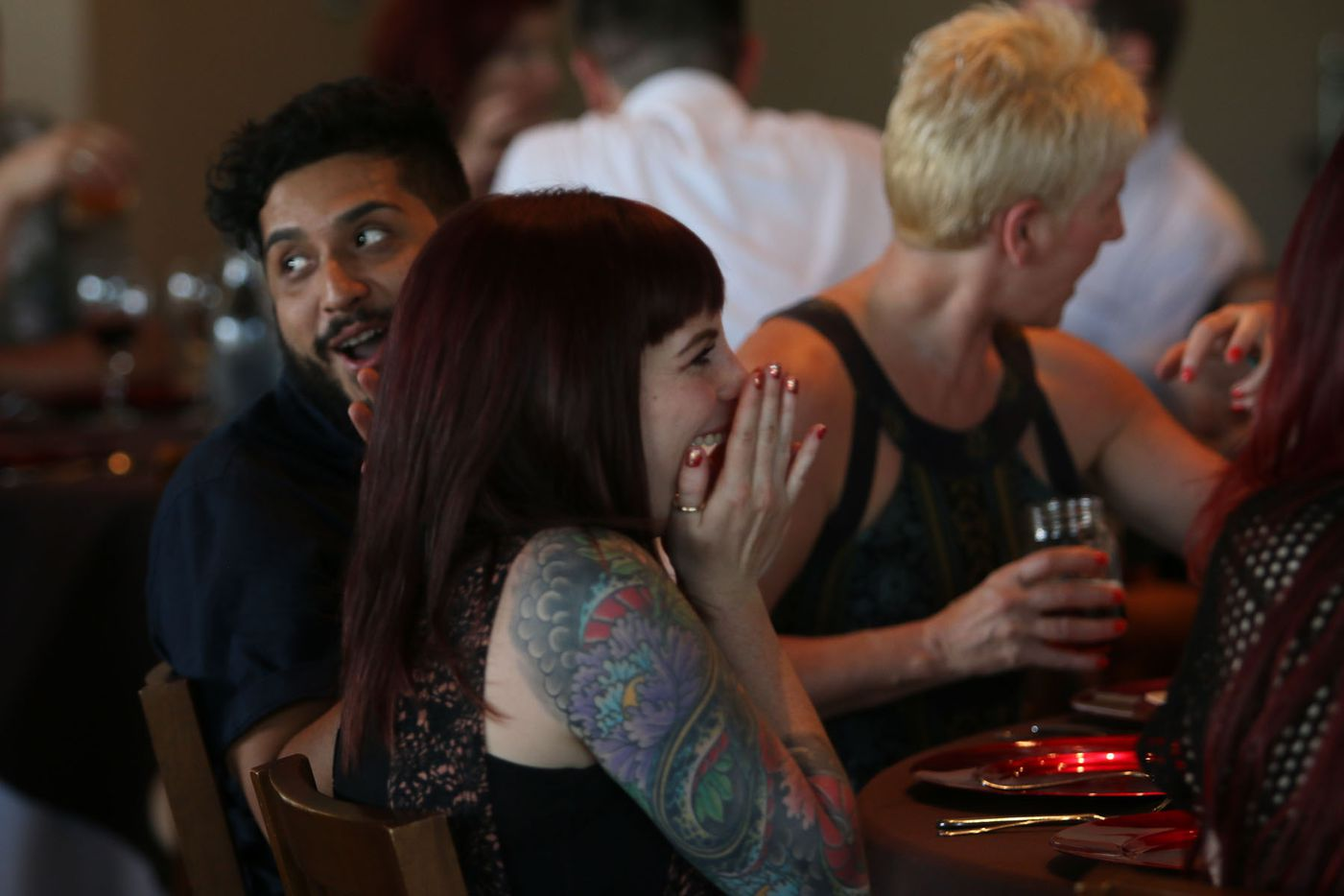 Guests gathered for chef Justin Box's summer pop up dinner Summer Shenanigans at 3015 in Trinity Groves on July 26,2015.