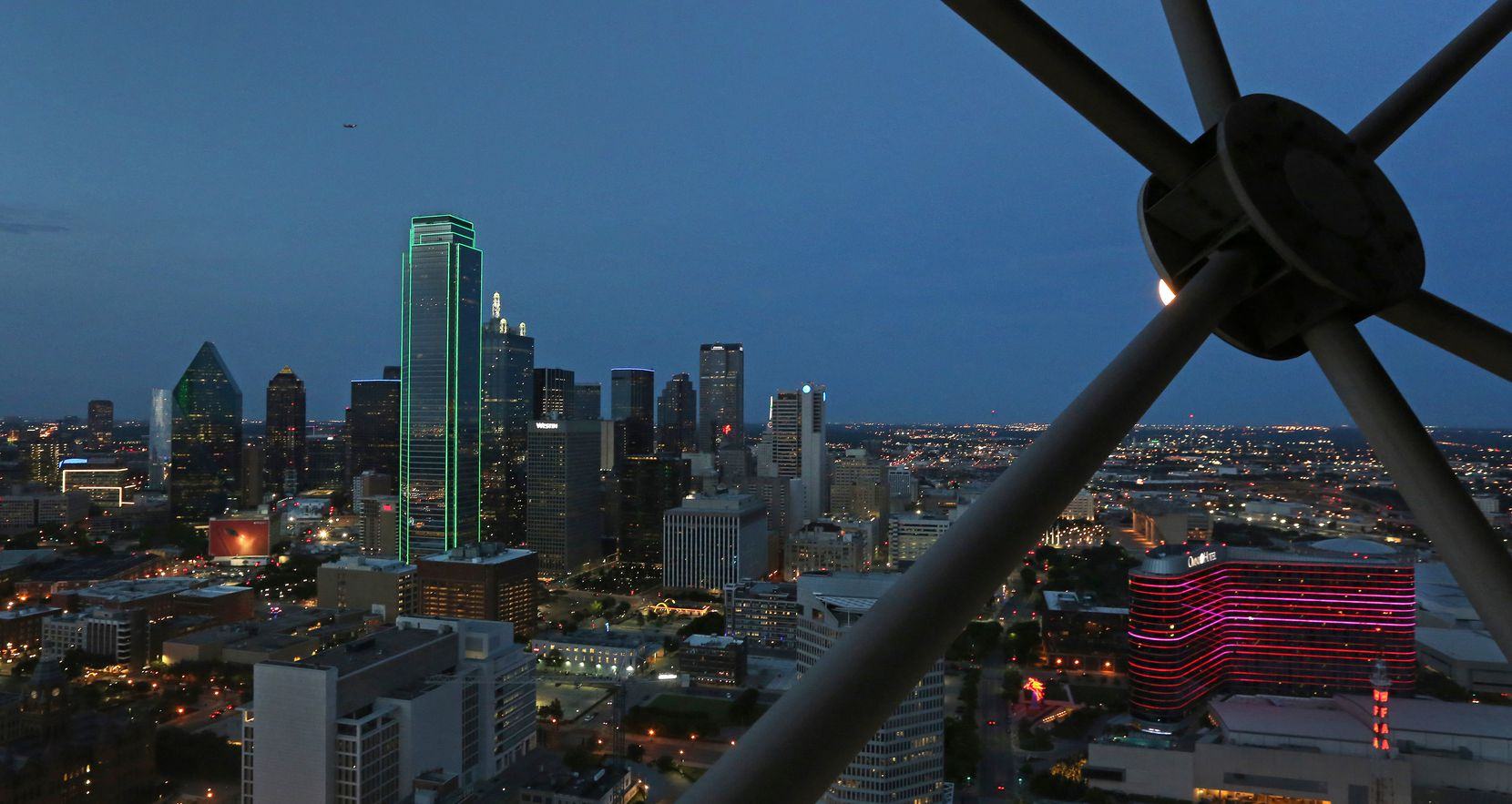 The best view of downtown Dallas is from the Geo Deck at Reunion Tower.