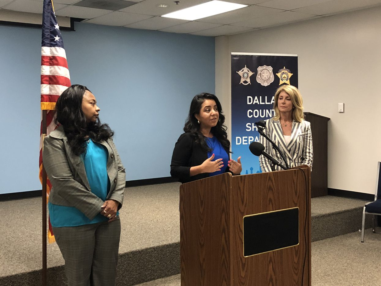 "Lavinia Masters (from left), state Rep. Victoria Neave and former state senator and gubernatorial candidate Wendy Davis announced the ""Clear the Kits"" campaign on Friday at the Frank Crowley Courts Building."