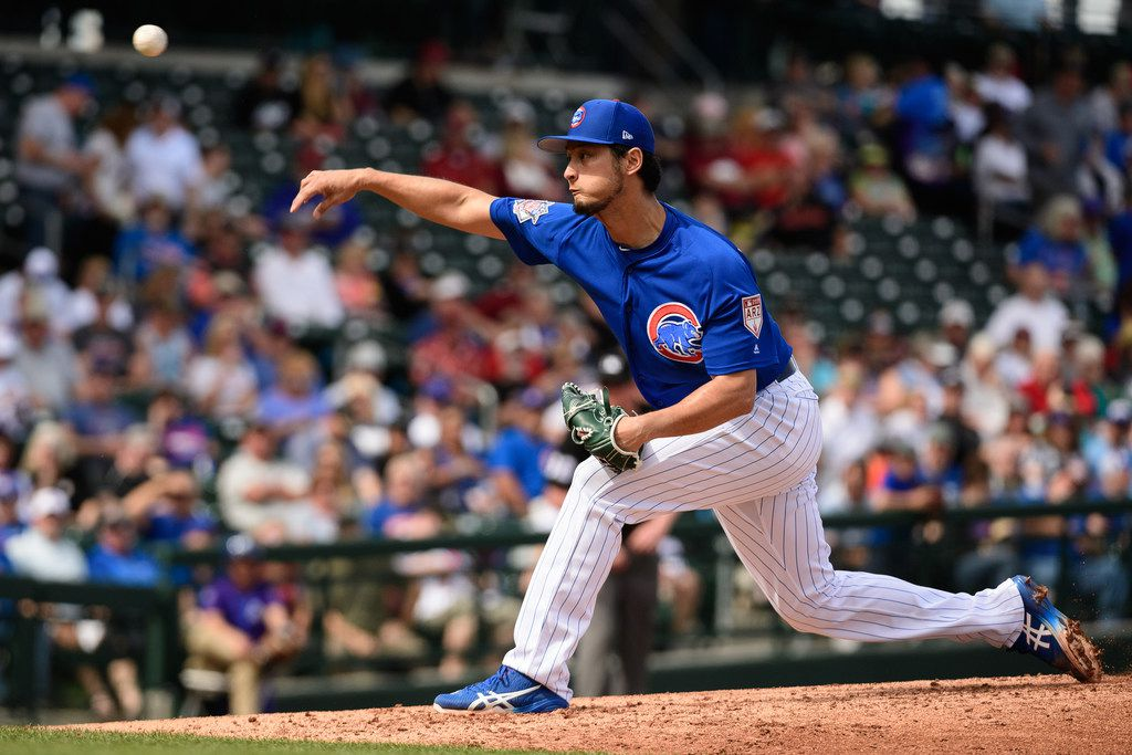 MESA, ARIZONA - FEBRUARY 26: Yu Darvish #11 of the Chicago Cubs delivers a pitch in the second inning of the spring training game against the Arizona Diamondbacks at Sloan Park on February 26, 2019 in Mesa, Arizona. (Photo by Jennifer Stewart/Getty Images)