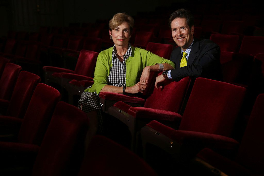Lyric Stage founding producer Steven Jones (right) and Virginia Dupuy, a voice professor at Southern Methodist University sit in the seats of the Majestic Theatre, where Lyric will present 'Guys and Dolls' June 8-10. Lyric Stage and SMU Meadows School for the Arts entered a partnership this season that continues with 'Guys and Dolls.' Lyric rehearsed the show at SMU and several SMU students and alumni are in the cast.