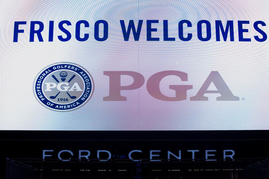 A message welcoming the PGA of America to Frisco, Texas is seen at the Ford Center at the Dallas Cowboys headquarters at The Star in Frisco on Tuesday, December 4, 2018. The Frisco city council approved a plan for the PGA of America to move its headquarters to Frisco. The PGA is joining the Dallas Cowboys, FC Dallas, and others in making Frisco, Texas their home. (Shaban Athuman/The Dallas Morning News)
