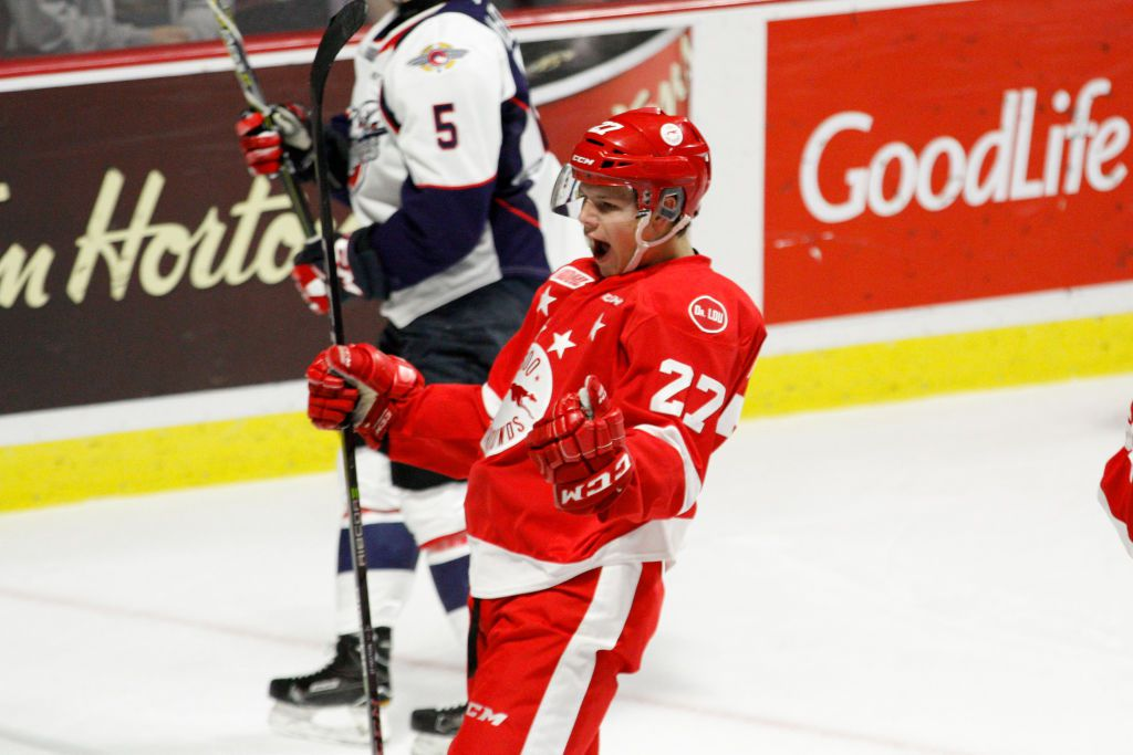 WINDSOR, ON - OCTOBER 05: Forward Barrett Hayton #27 of the Sault Ste. Marie Greyhounds celebrates his first period goal against the Windsor Spitfires on October 5, 2017 at the WFCU Centre in Windsor, Ontario, Canada. (Photo by Dennis Pajot/Getty Images)