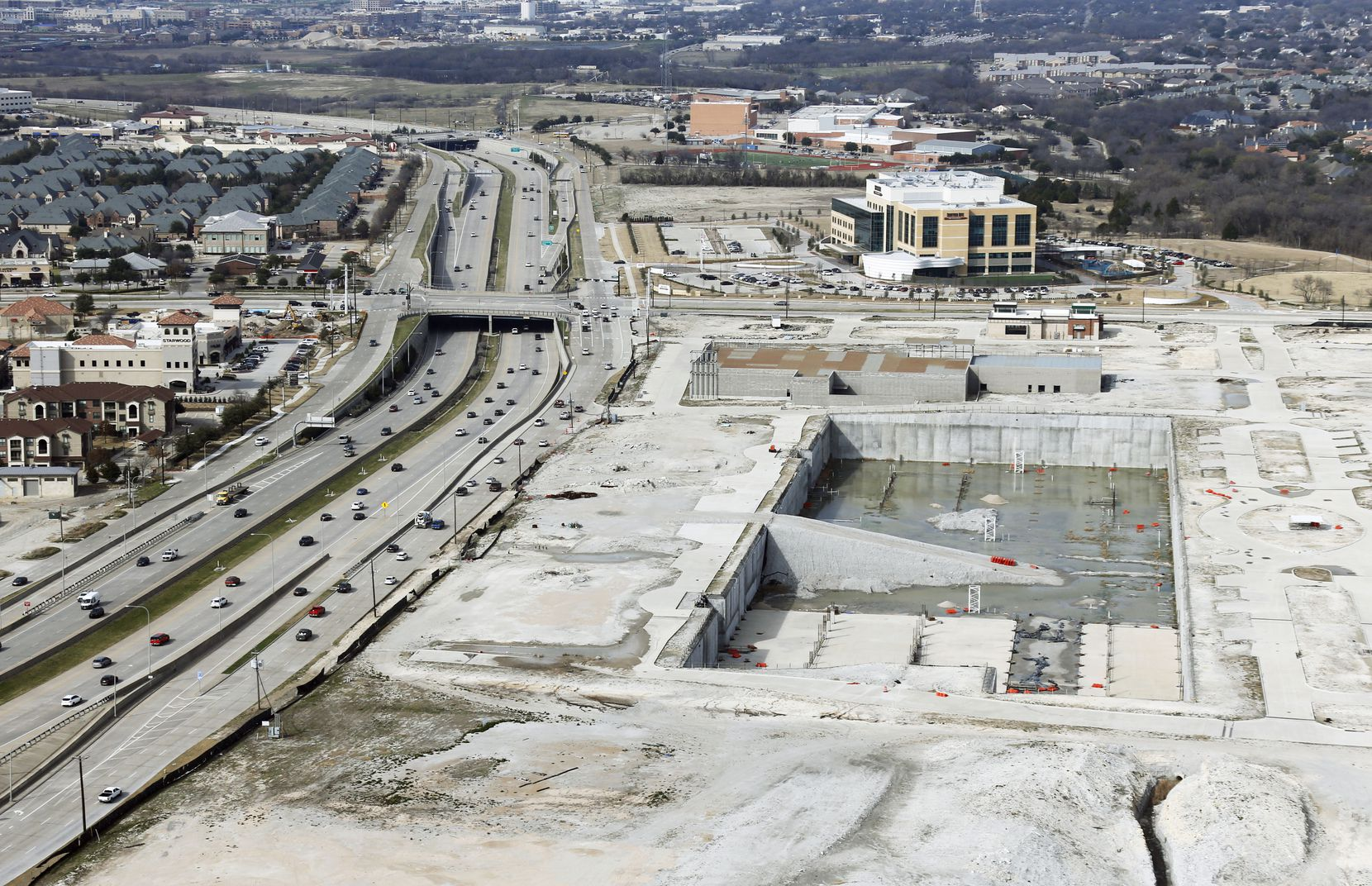 Wade Park sits unfinished next to the Dallas North Tollway in Frisco.