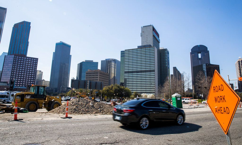 Construction on the expansion of Cesar Chavez Boulevard continues on Wednesday, March 14, 2018 in downtown Dallas.