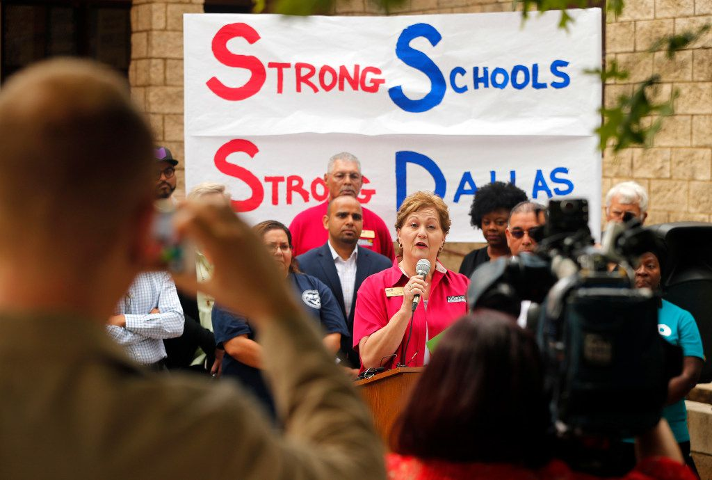 Alliance-AFT teachers association president Rena Honea spoke at Thursday's news conference announcing the launch of the Strong Schools Strong Dallas coalition, a diverse group of North Texas organizations supporting a Tax Ratification Election (TRE).  (Tom Fox/Staff Photographer)