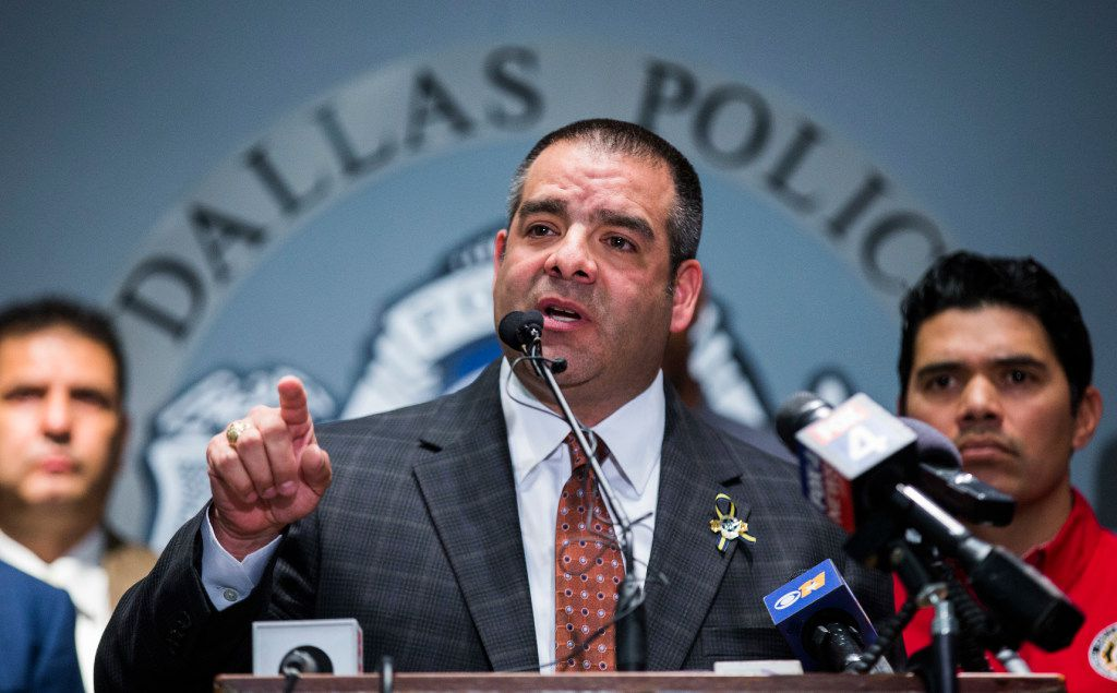 Dallas Police Sergeant Mike Mata, president of the Dallas Police Association, announces to the media that pension negotiations between police and fire associations and the city of Dallas have failed, on Thursday, January 26, 2017 at the Dallas Police Association headquarters in Dallas. (Ashley Landis/The Dallas Morning News)
