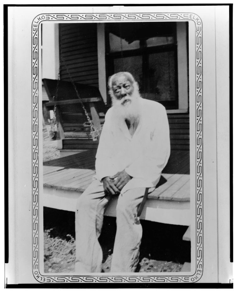 James Johnson, ex-slave, shown in Dallas, in 1937 or 1938. The photo is from a collection of portraits of African American ex-slaves created by the U.S. Works Progress Administration, for the Federal Writers' Project slave narratives collection.