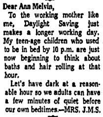Letter from a reader responding to Melvin's original column about daylight saving time published in the Aug. 18, 1967 edition of The Dallas Morning News