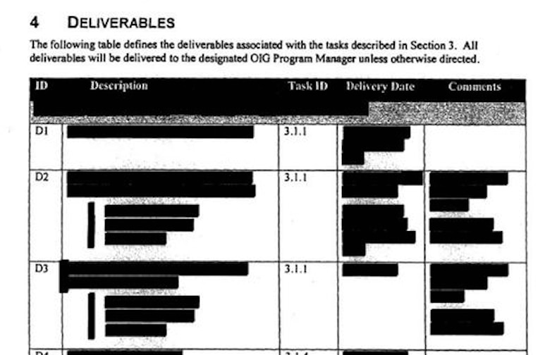 An excerpt from a multi-million-dollar contract that the Texas Health and Human Services Commission tried to conceal as news reports exposed the contract had been awarded to tech company 21CT without competition and with the help of a state official with close ties to the company.