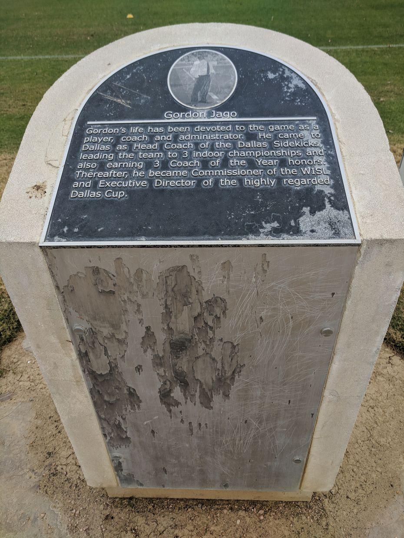 The Texas Soccer Walk of Fame marker for Gordon Jago.