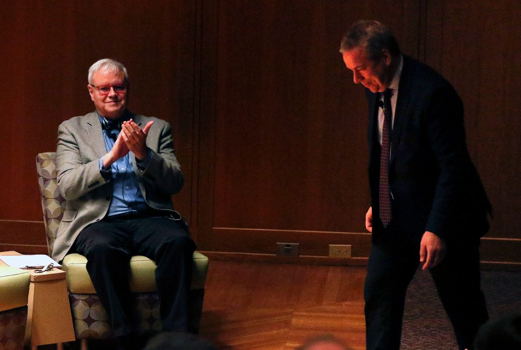 "Scott Cantrell, Dallas Morning News contributing classical music critic, applauds as Cliburn CEO Jacques Marquis takes the stage. ""Duets,"" a live-conversation program offered exclusively to subscribers, was hosted by Cantrell. (Daniel Carde/The Dallas Morning News)"