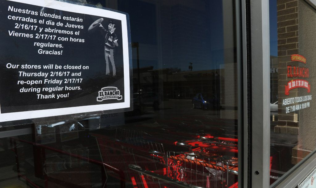"""A sign, in English and Spanish, on the door of Supermercado El Rancho, on 4121 Gaston Ave, in Dallas, informs their customers that their store would be closed on Thursday, 2/16/17 in support of the """"Day Without Immigrants"""" protest. Across Dallas, the state, and nation, shops and restaurants closed in solidarity on Thursday for a """"Day Without Immigrants. (Irwin Thompson/The Dallas Morning News)"""