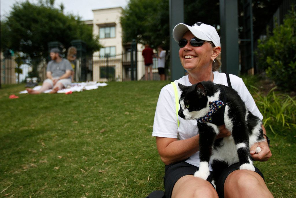 """Ames Meyer with cat Pepper during """"Take Meow to the Ballgame,"""" a day where cat owners are encouraged to bring their cats to the ballpark at Dr Pepper Ballpark in Frisco, Texas, Sunday, May 21, 2017."""