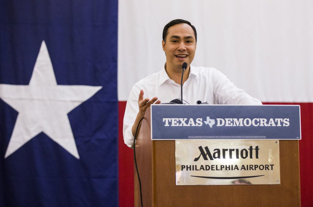 Rep. Joaquin Castro of San Antonio speaking to Texans at the Democratic convention last summer. (Ashley Landis/Staff Photographer)