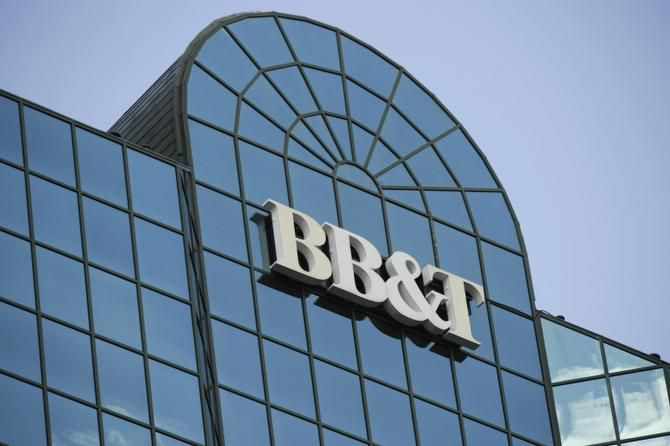 A BB&T logo hangs atop the BB&T Corp. headquarters building in Winston-Salem, North Carolina.