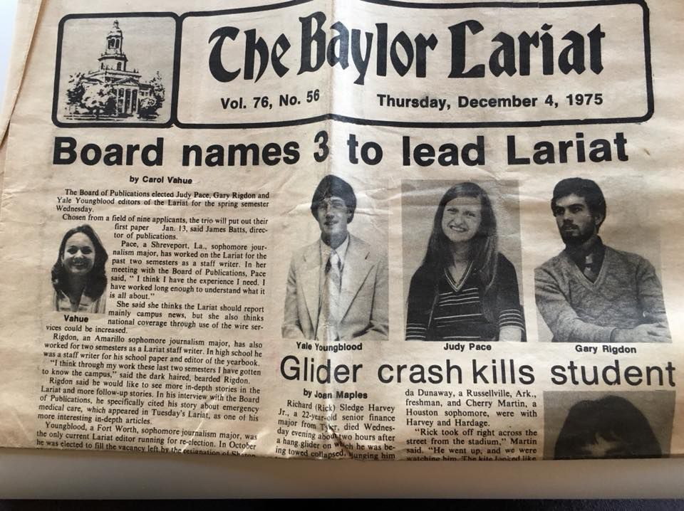 That's Gary on the right. Working on the staff of the Baylor University Lariat united a half-dozen of us and connected us for a lifetime. Even 30 years after Gary's death, he still keeps us tight, still keeps us whole.