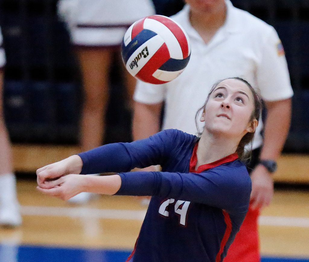 Allen High School libber Emily Canaan (24) bumps the ball over the net during game two as Allen High School hosted Prosper High School in a District 9-6A volleyball match in Allen on Tuesday, October 1, 2019. (Stewart F. House/Special Contributor)