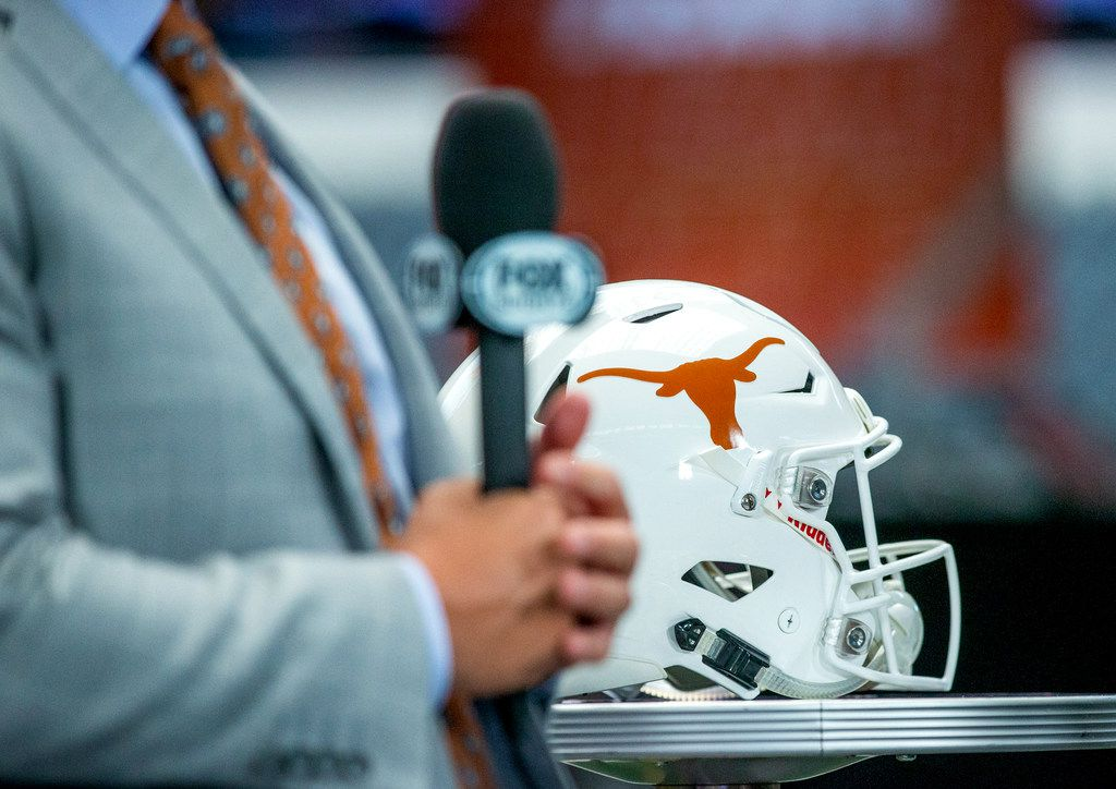 Texas head coach Tom Herman speaks with Fox Sports during Big 12 media days at AT&T Stadium in Arlington on Tuesday, July 16, 2019. (Lynda M. Gonzalez/The Dallas Morning News)