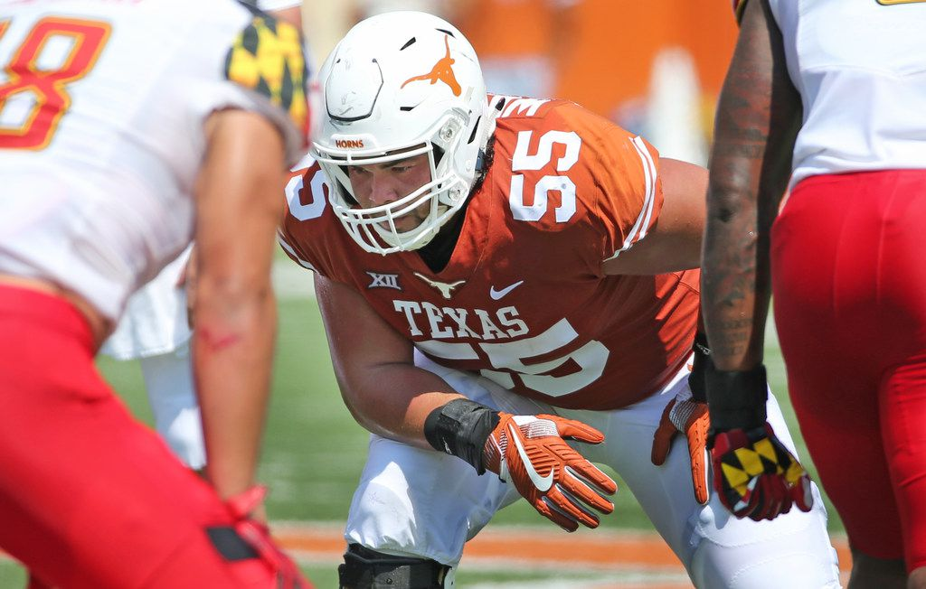 Texas Longhorns offensive lineman Connor Williams (55) is pictured during the University of Maryland Terrapins vs. the University of Texas Longhorns NCAA football game at Darrell K Royal Texas Memorial Stadium in Austin, Texas on Saturday, September 2, 2017. (Louis DeLuca/The Dallas Morning News)