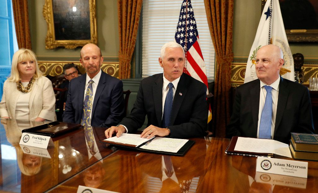 Vice President Mike Pence met with a group of philanthropic leaders this month including Linda Evans of the Meadows Foundation, Fred Klipsch of Hoosiers for Quality Education, and Adam Meyerson, president of the Philanthropy Roundtable, (Alex Brandon/The Associated Press)