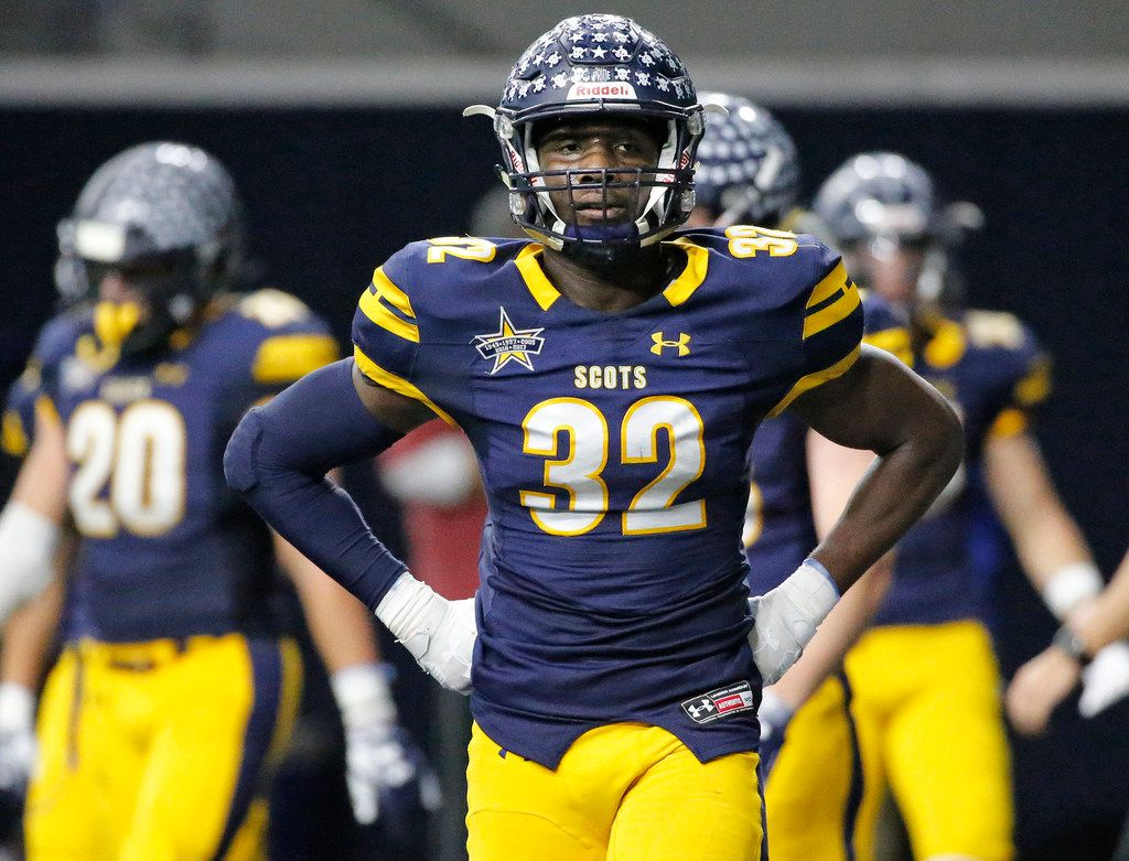 Highland Park defensive lineman Prince Dorbah (32) is pictured during the Highland Park Scots vs. the Tyler John Tyler Lions Class 5A Division I Region II  high school football playoff game at the Star in Frisco, Texas on Saturday, December 8, 2018. (Louis DeLuca/The Dallas Morning News)