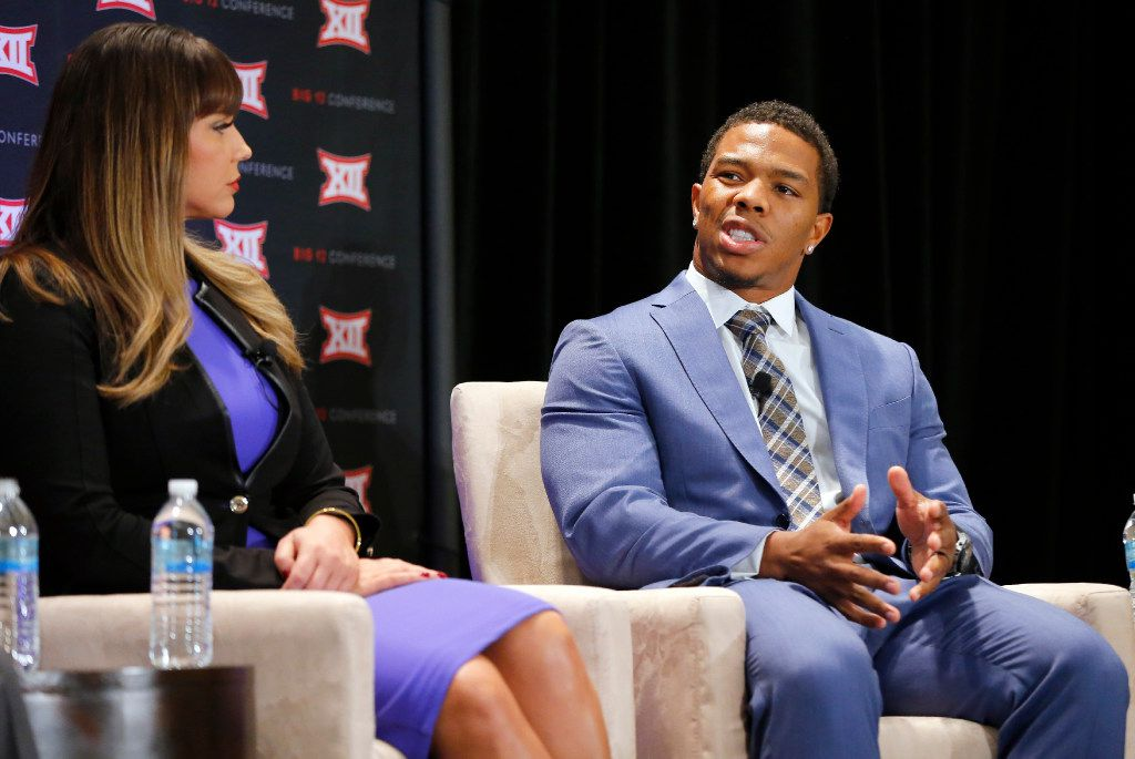 Former NFL All-Pro running back Ray Rice discusses his history of domestic violence during a panel discussion in September 2016 at the Belo Mansion in Dallas. Rice was recorded on security video knocking his then-fiancee unconscious in an Atlantic City casino elevator in February 2014.