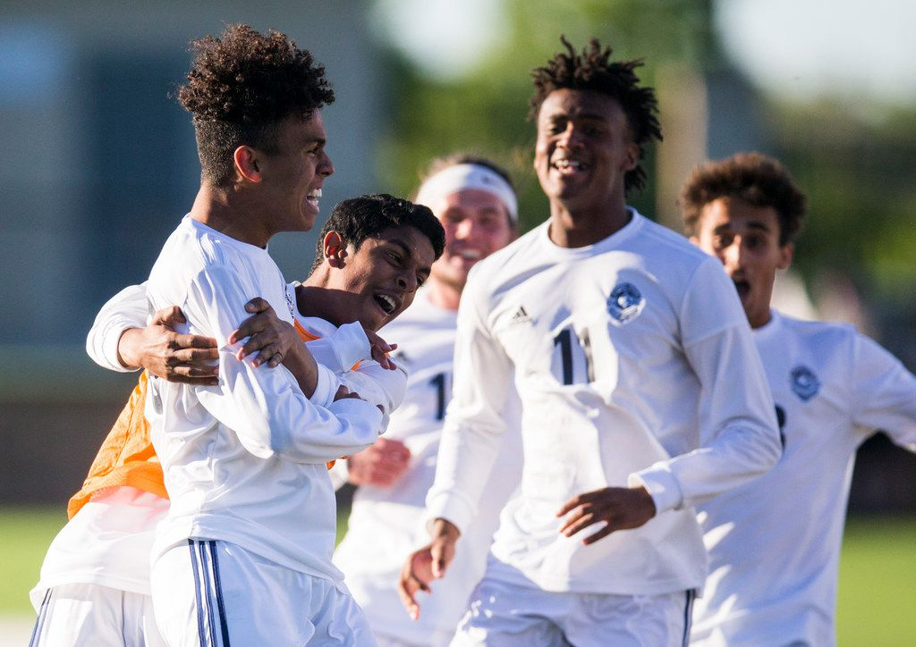 Flower Mound forward Joe Perryman (29) celebrates scoring a goal during the first half of a UIL conference 6A boys state semifinal soccer game between Flower Mound High School and Alief Elsik High School on Friday, April 19, 2019 at Birkelbach Field in Georgetown, Texas. (Ashley Landis/The Dallas Morning News)