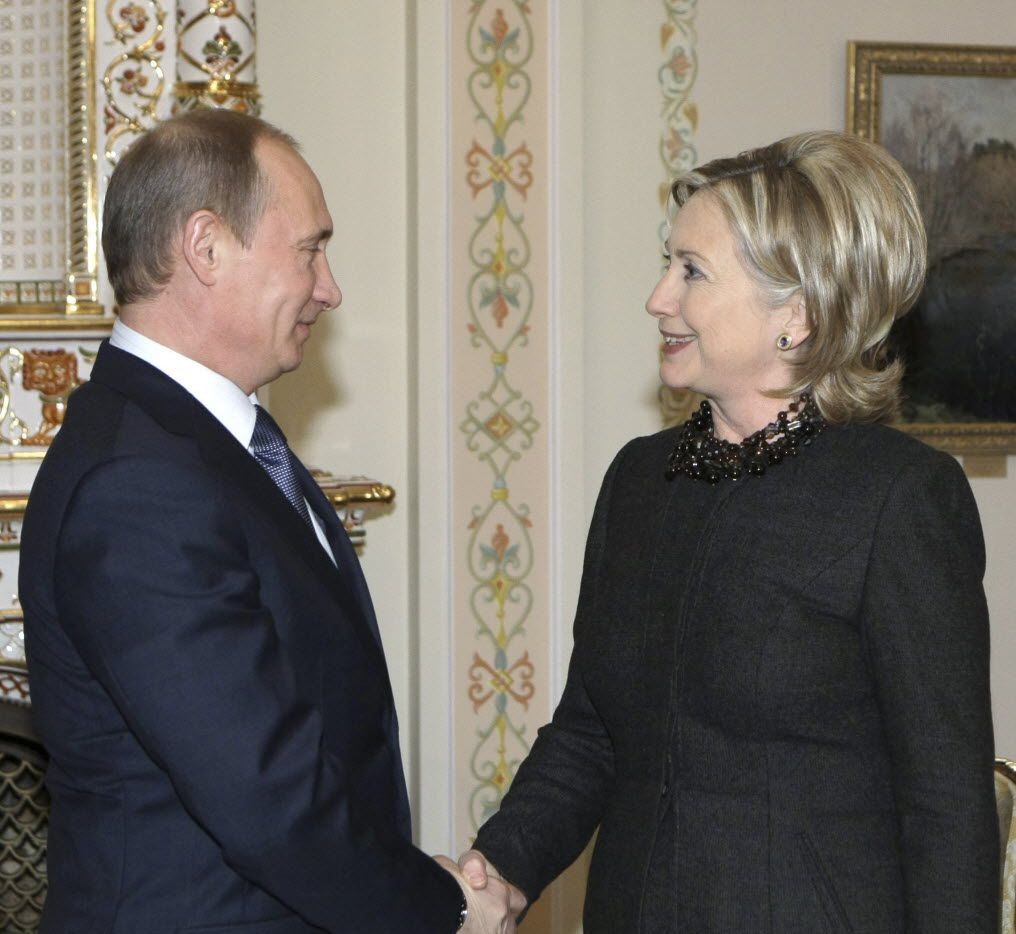 Russian Prime Minister Vladimir Putin greeted Secretary of State Hillary Clinton during a meeting in Russia in 2010. (Alexei Nikolsky/The Associated Press)