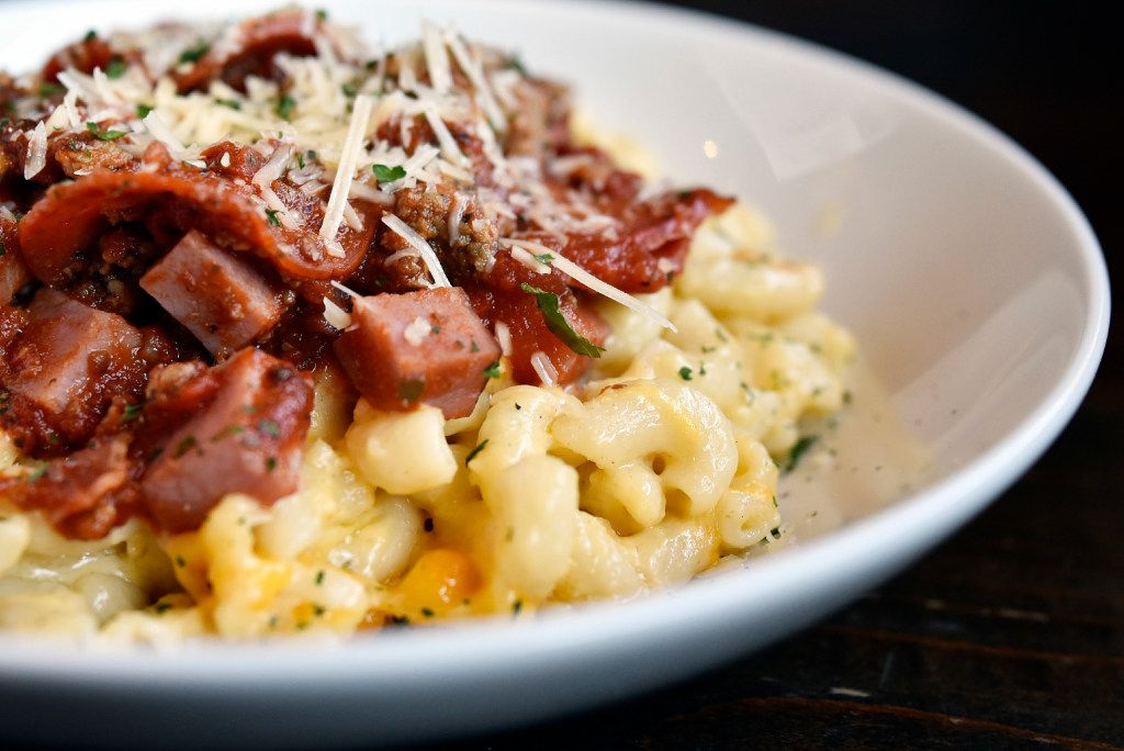 The Meat Lovers mac 'n cheese is loaded with bacon, ham, pepperoni, beef and marinara.