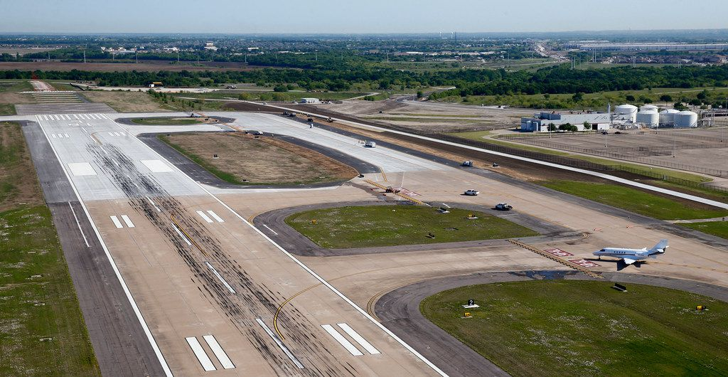 The extended runway at Fort Worth Alliance Airport on April 24, 2018.