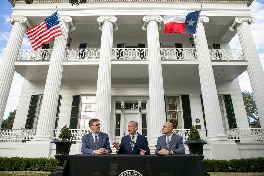 From left, Texas Lt. Gov. Dan Patrick, Texas Gov. Greg Abbott and House Speaker Dennis Bonnen speak at a news conference at the Governor's Mansion, Wednesday, Jan. 9, 2019, in Austin, Texas, on the second day of the 86th legislative session.
