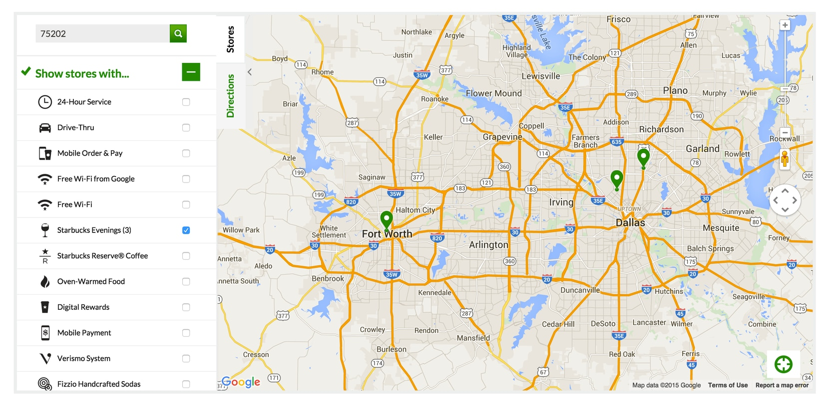The Starbucks store locator shows three stores in the D-FW area serving new food and alcoholic beverages as of Tuesday, Nov. 3