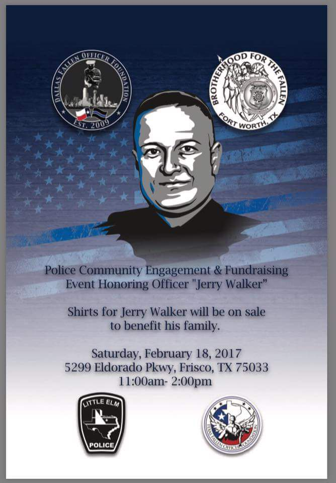 The flier promoting a Dallas Fallen Officer Foundation fundraiser to benefit the family of slain Detective Jerry Walker. Little Elm police were upset that their patch was used without permission.