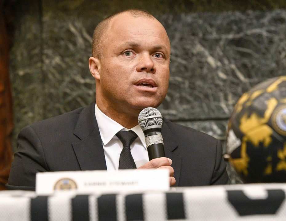 Philadelphia Union Sporting Director Earnie Stewart at Philadelphia City Hall for a presser as part of the Philadelphia Union's March to Soccer on March 7, 2017. Stewart has been named to the newly credited position of general manager for the U.S. men's national soccer team program. (Ricky Fitchett/Zuma Press/TNS)