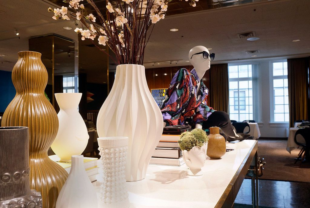 Merchandise could catch a diner's eye. A table added to the center of the Zodiac restaurant will have a rotating display of merchandise for sale. The Neiman Marcus Zodiac restaurant in Dallas, Texas on Monday, June 10, 2019. (Lawrence Jenkins/Special Contributor)