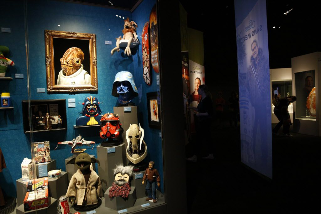 A collection of Star Wars memorabilia, part of the Eye of the Collector exhibit at the Perot Museum of Nature and Science in Dallas on April 14, 2016.