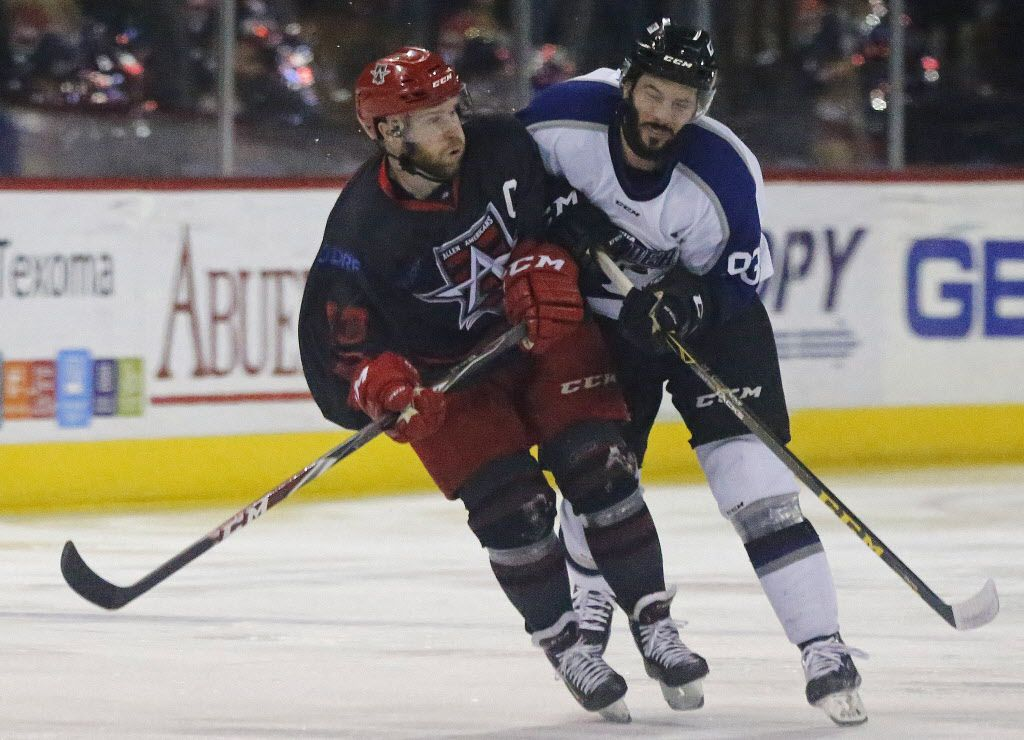 Allen Americans right wing Chad Costello (13) colides with Wichita Thunder forward Dean Chelios during the first period as the Allen Americans hosted the Wichita Thunder at the Allen Event Center on Saturday night, March 12, 2016. (Stewart F. House/Special Contributor)
