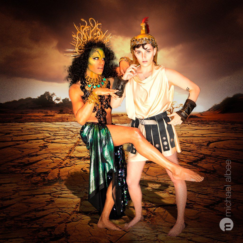 Raymond Govender as Medusa and Cameron Casey as Hercules in Giant Entertainment's City Dionysia.