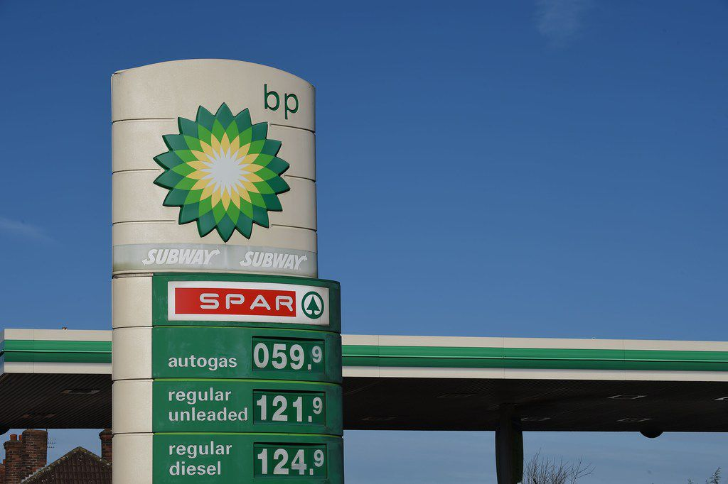 In this file photo, the logo of BP plc is seen at a BP petrol station in Liverpool.  The world's biggest miner announced the sale of its US oil and gas assets to BP for US$10.5 billion, with the funds being returned to shareholders. / AFP PHOTO / PAUL ELLISPAUL ELLIS/AFP/Getty Images