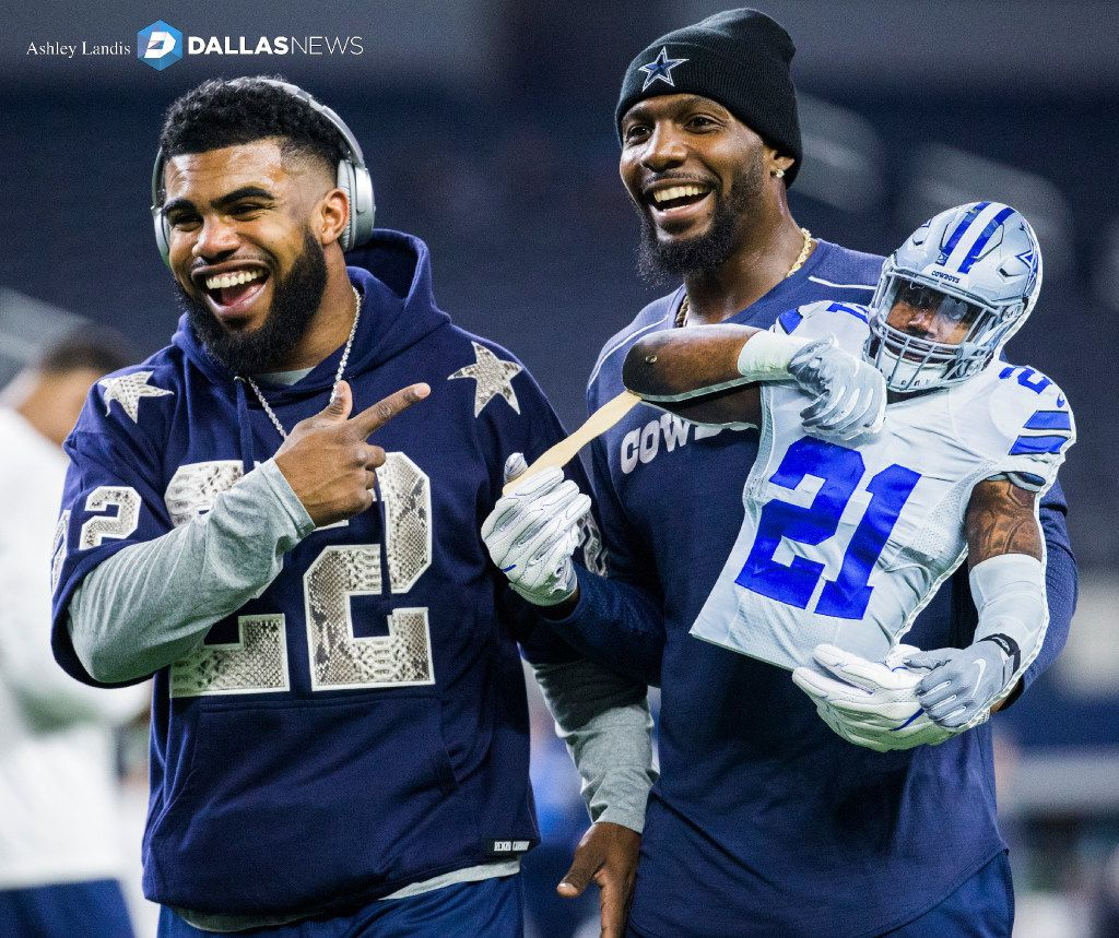 Dallas Cowboys running back Ezekiel Elliott (21) and wide receiver Dez Bryant (88) laugh at a cutout of Elliott before their game against the Detroit Lions on Monday, December 26, 2016 at AT&T Stadium in Arlington, Texas. (Ashley Landis/The Dallas Morning News) ORG XMIT: DMN1612261837551492